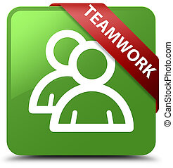 Teamwork (group icon) soft green square button red ribbon in corner