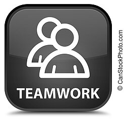 Teamwork (group icon) special black square button