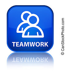 Teamwork (group icon) special blue square button