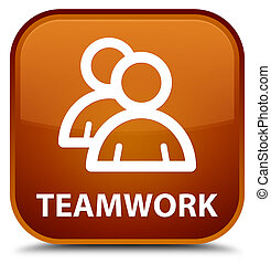 Teamwork (group icon) special brown square button