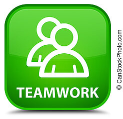 Teamwork (group icon) special green square button