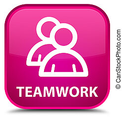 Teamwork (group icon) special pink square button