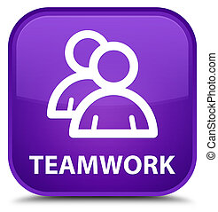 Teamwork (group icon) special purple square button