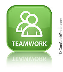 Teamwork (group icon) special soft green square button