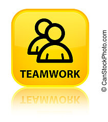 Teamwork (group icon) special yellow square button