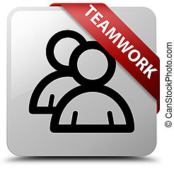Teamwork (group icon) white square button red ribbon in corner