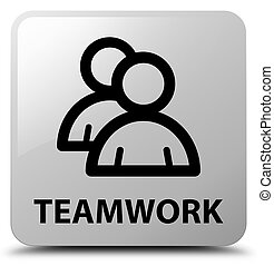 Teamwork (group icon) white square button