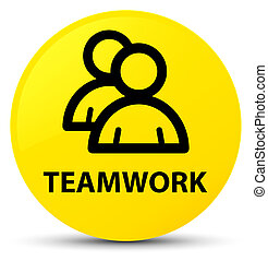 Teamwork (group icon) yellow round button