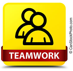 Teamwork (group icon) yellow square button red ribbon in middle
