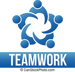 Teamwork. Group of 5 people logo