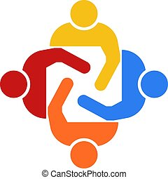 Teamwork Group of Four People Vector Illustration