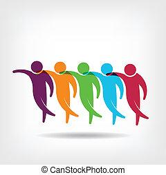 Teamwork group of friends logo
