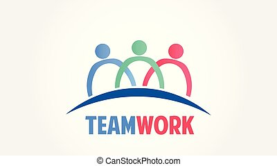 Teamwork group people community vector logo