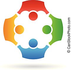 Teamwork group people, vector logo