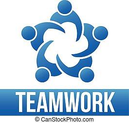 teamwork., grupo, de, 5 pessoas, logotipo