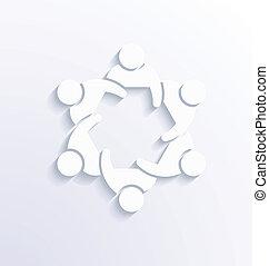 teamwork, gruppe, 3., træffes folk