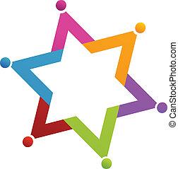 teamwork, gwiazda, ludzie, logo, wektor