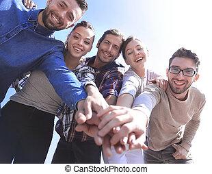 teamwork, hånd, studerende, stakke, begreb, læreanstalt