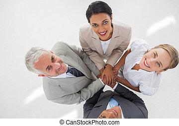 teamwork, hænder, deres, gruppe, foren, sammenkomst