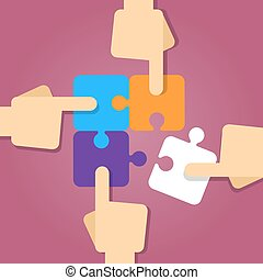 Vector stock of four hands putting puzzle pieces together, teamwork concept
