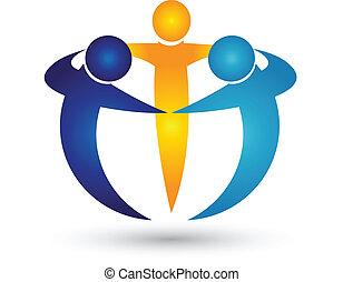 teamwork, handlowy zaludniają, logo
