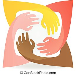 Teamwork hands around colorful logo vector