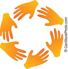 Teamwork hands around logo