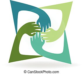 Teamwork hands around logo vector