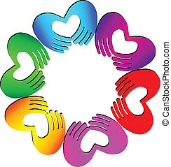 Teamwork Hands doing a heart logo