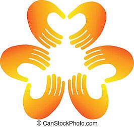 Teamwork hands doing a heart shape logo vector