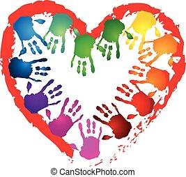 Teamwork hands heart shape logo - Hands teamwork in a heart...