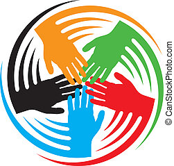 teamwork hands icon (together icon, hands connecting symbol, people connected icon)