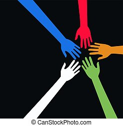 teamwork - hands in different colours
