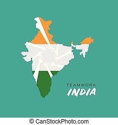 Teamwork Hands in India Map Logo