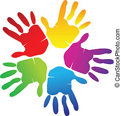 Teamwork hands around colorful logo vector