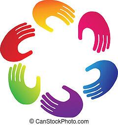 Teamwork hands logo