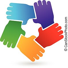 Teamwork hands people logo - Vector of teamwork hands people...