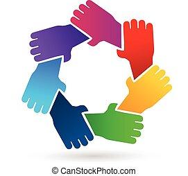 Teamwork hands people logo