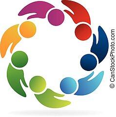 Teamwork hands shape people logo