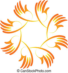 Teamwork hands unity concept  logo