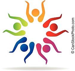 Teamwork hands up logo vector icon design