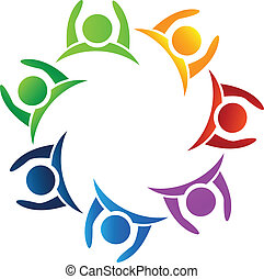 Teamwork hands up logo