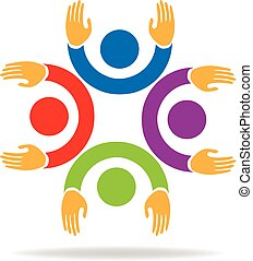 Teamwork hands up people logo