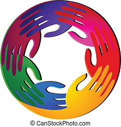 Teamwork hands vivid colors logo vector
