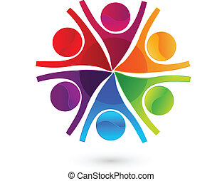 Teamwork happy business people logo