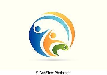 Teamwork happy partners business logo icon