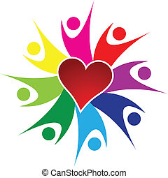 Teamwork happy people and heart log - Teamwork happy people...