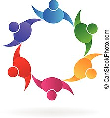 Teamwork happy people logo