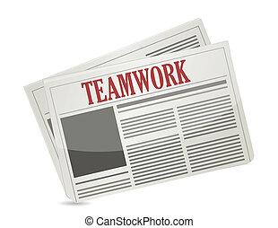 teamwork headline on a newspaper.