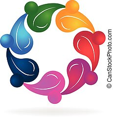 Teamwork healthy people logo